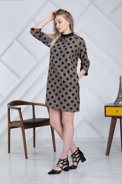 Half Turtleneck Polka Dot Brown Dress
