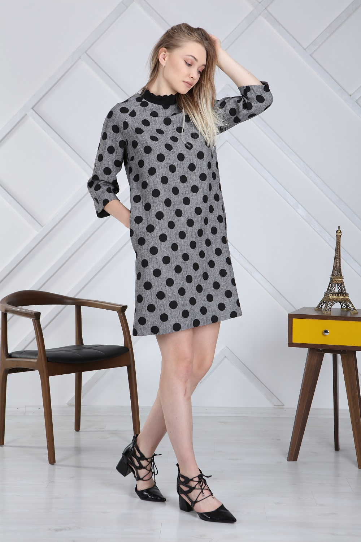 Half Turtleneck Polka Dot Gray Dress