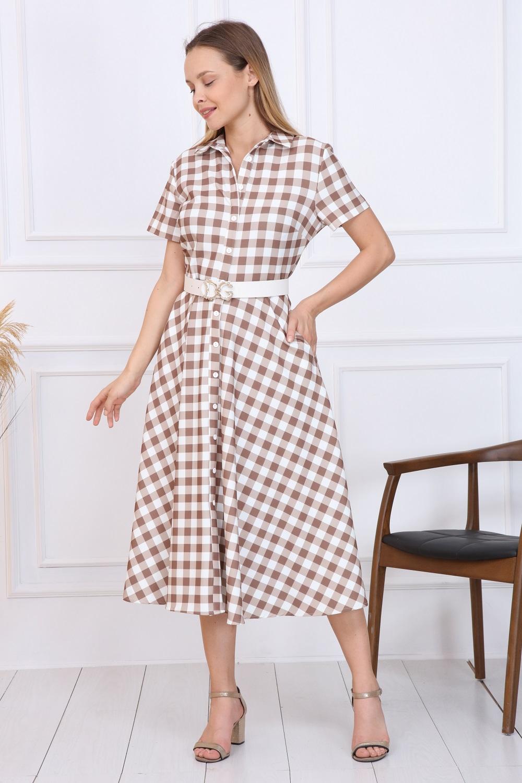 Beige Plaid Button Dress