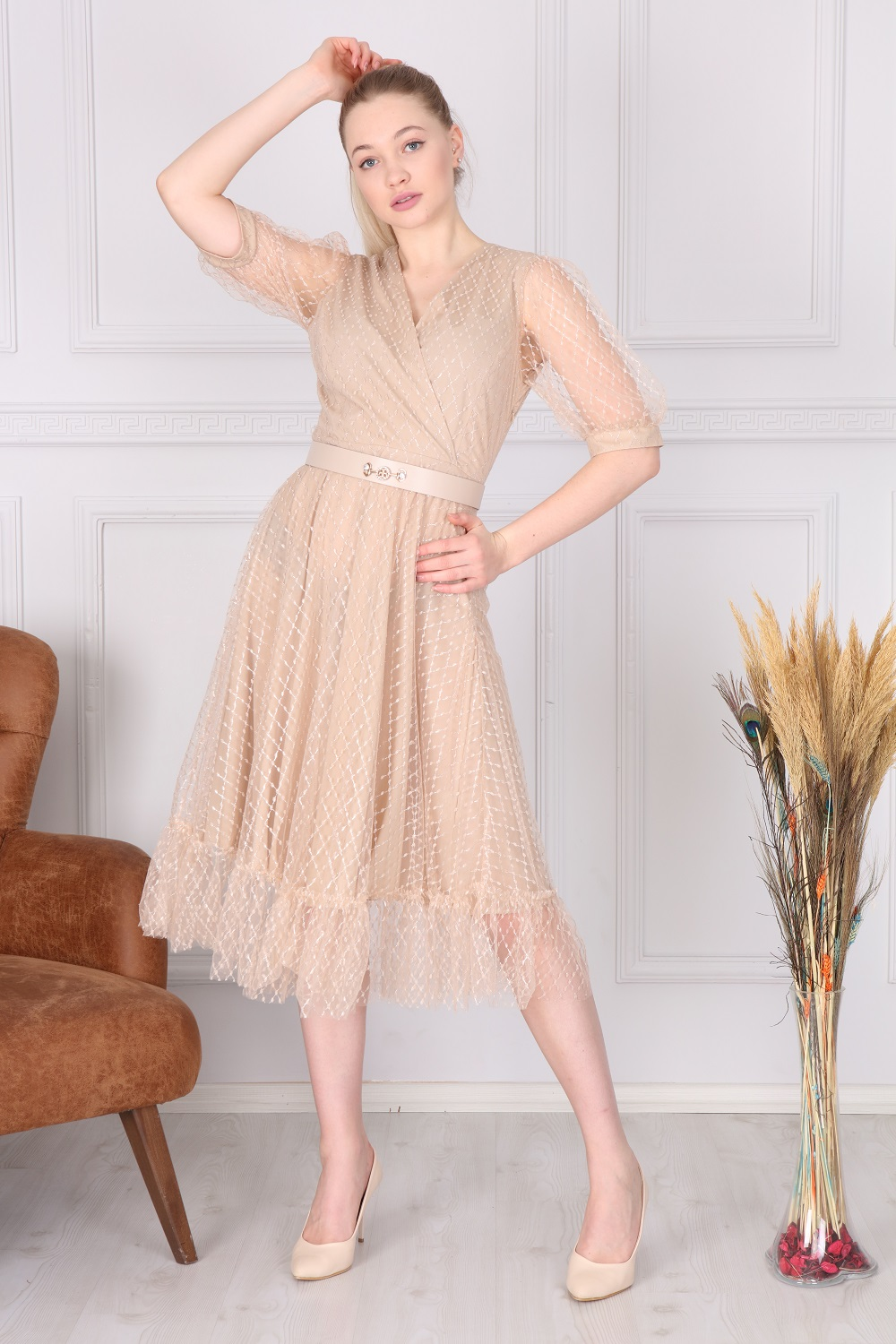 Beige Double Breasted French Dress