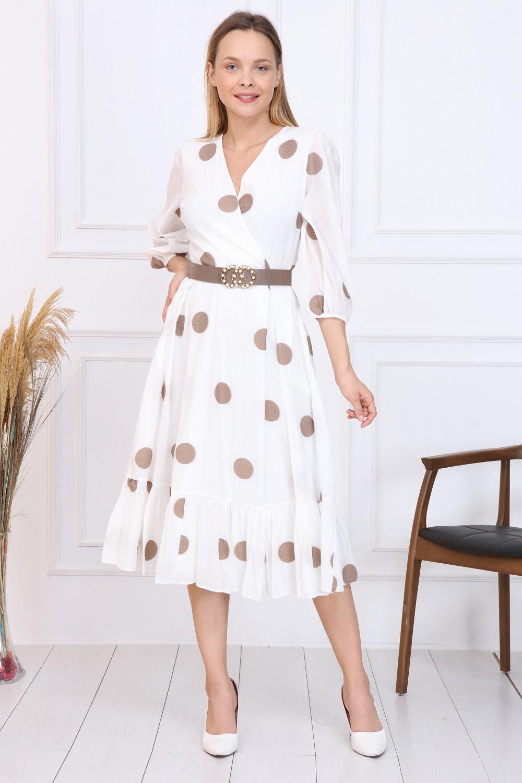 Beige Polka Dot French Dress