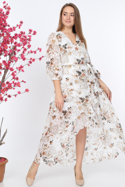 White Ruffle Patterned Dress