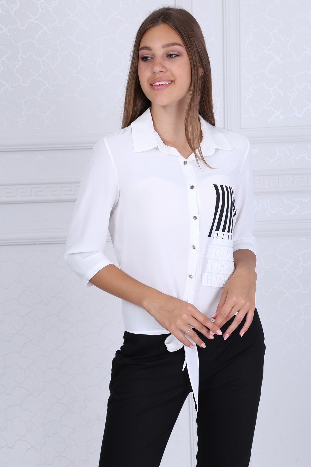 Collar Buttoned White Blouse