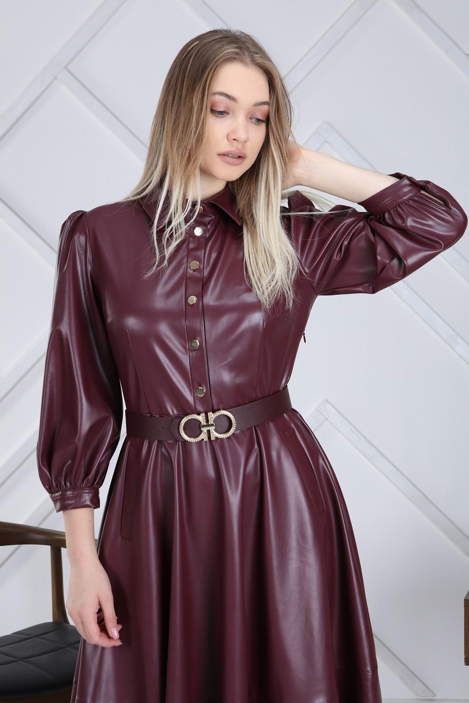 Burgundy Belted Leather Dress
