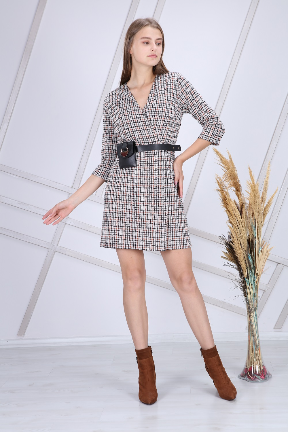 Beige Color Double Breasted Dress With Bag