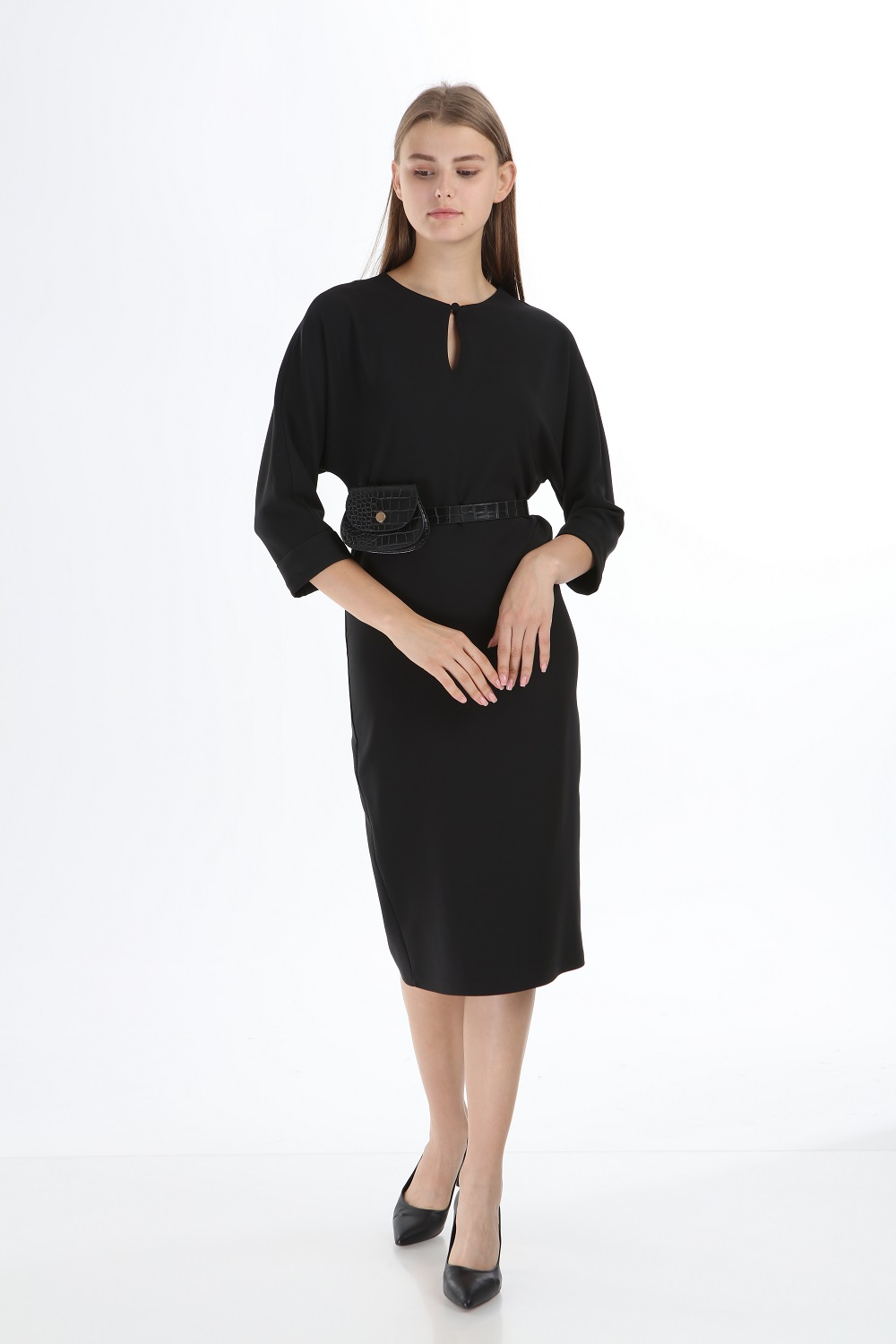 Black Colored Dress With Bag and Belt