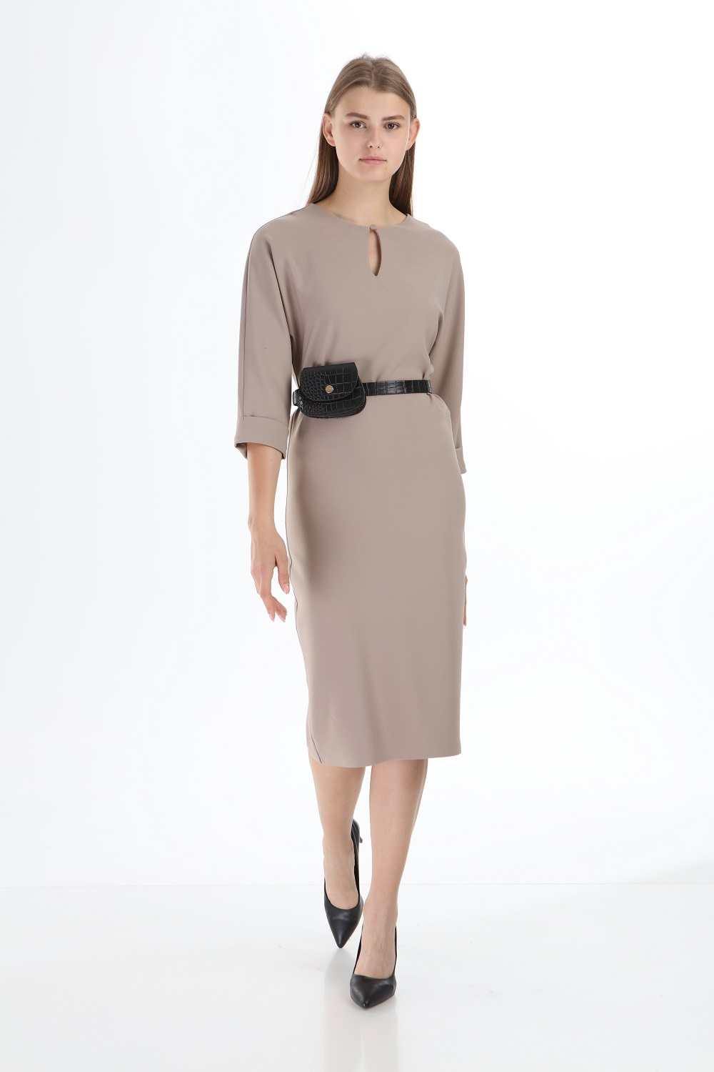 Mink Colored Dress With Bag and Belt