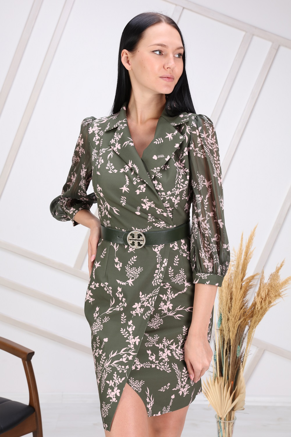 Green Floral Patterned Sleeve Tulle Dress