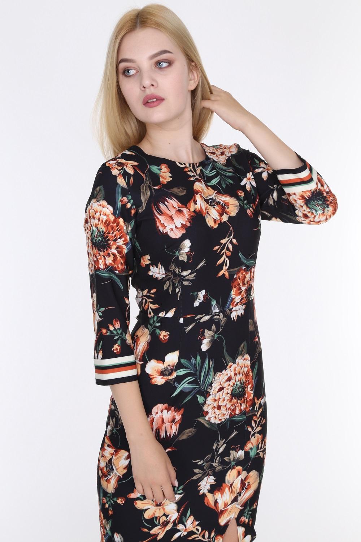 Floral Patterned Slit Black Color Dress