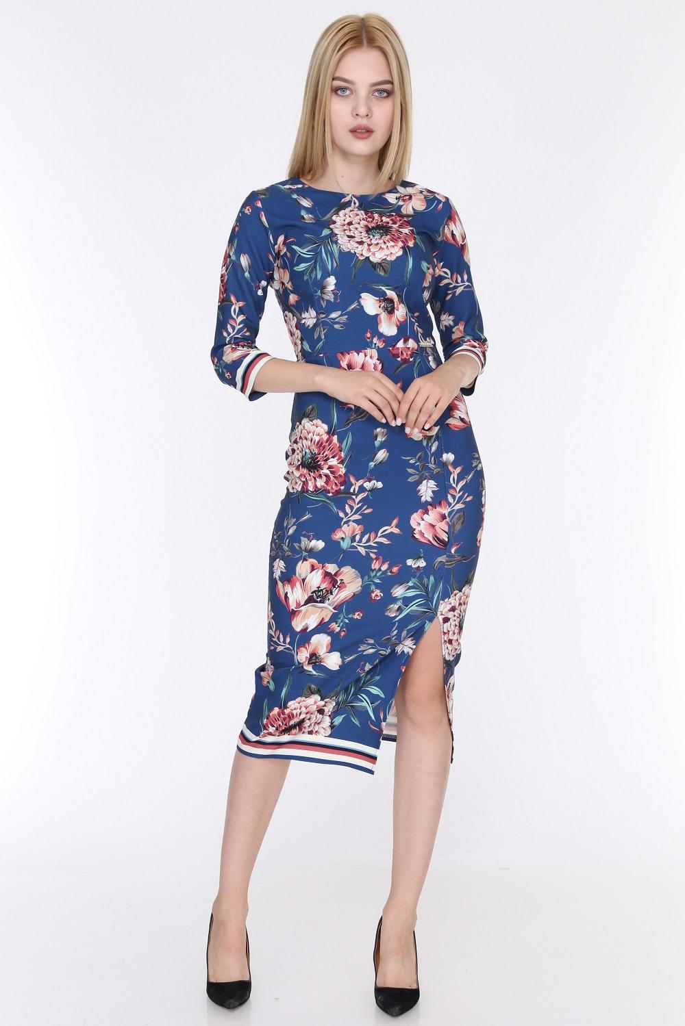 Floral Patterned Slit Blue Color Dress