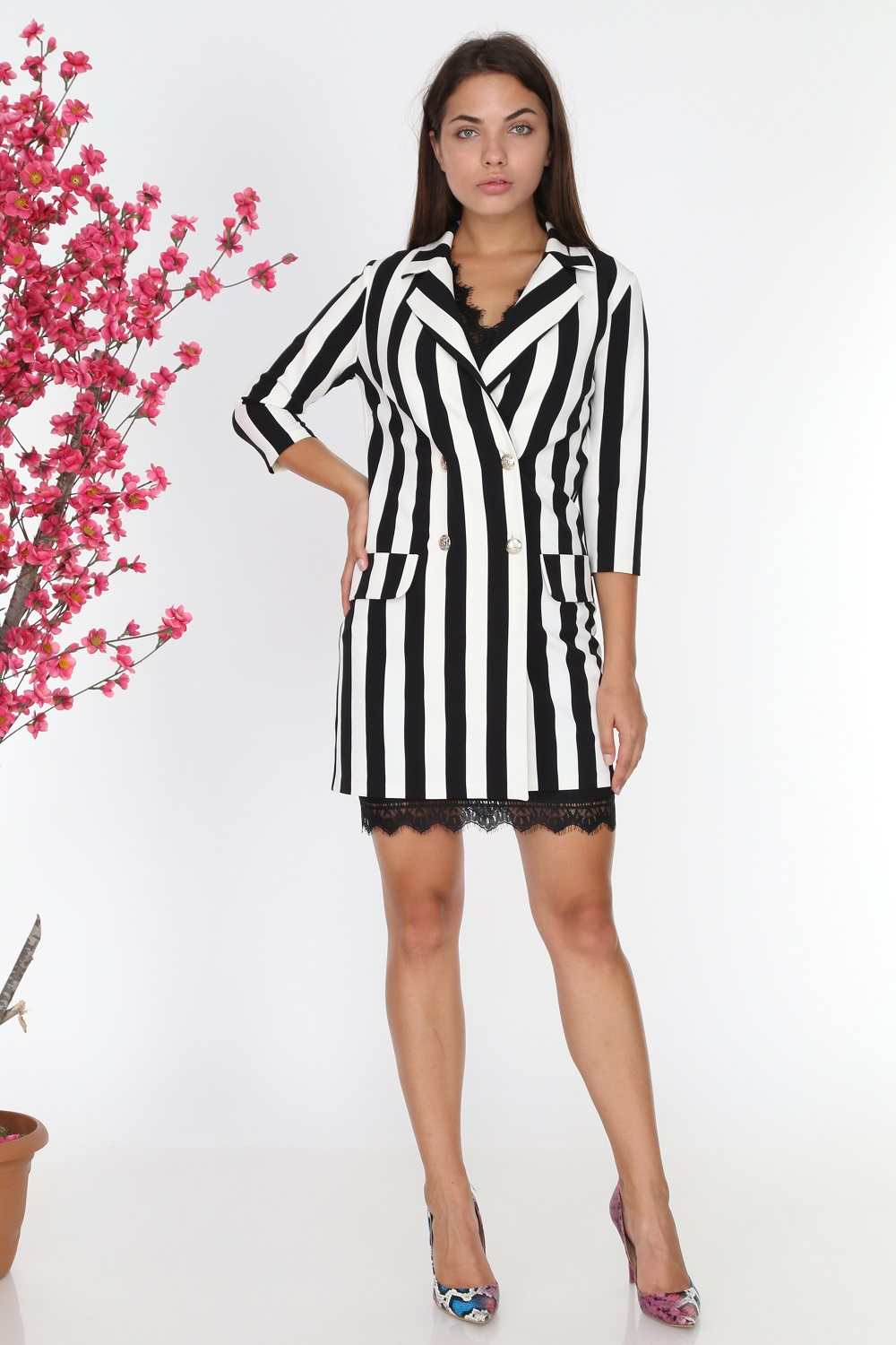 Lace Black and White Striped Jacket Dress