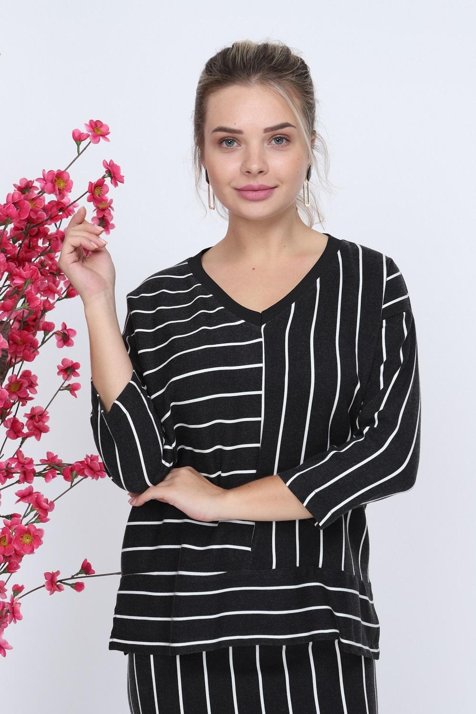 Striped V-Neck Black Color Skirt Suit