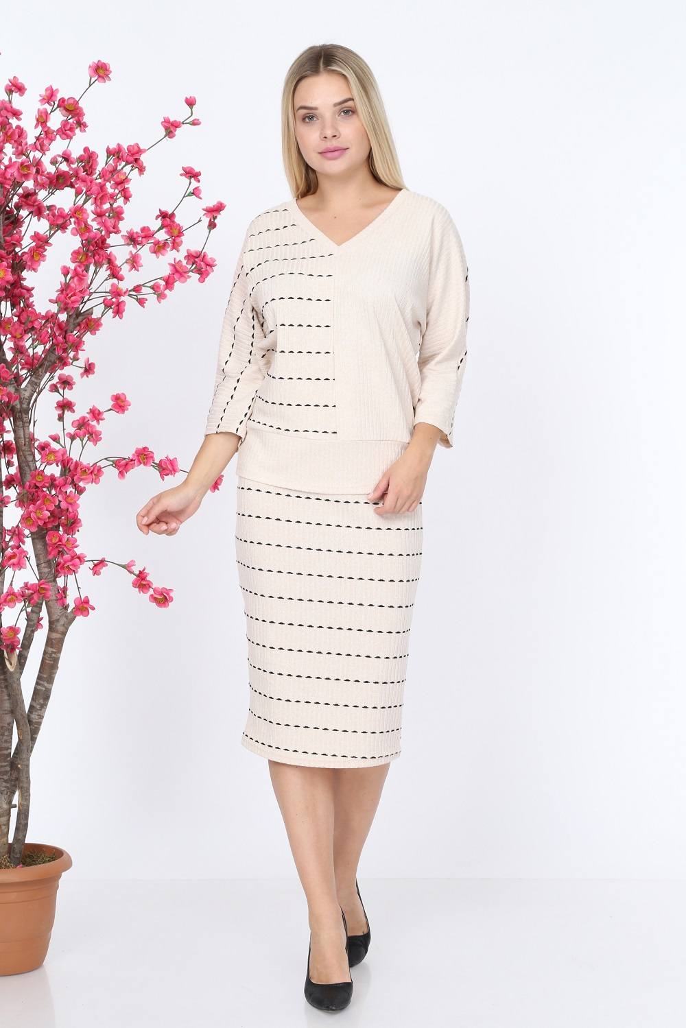 Striped Cream Color Knitwear Set