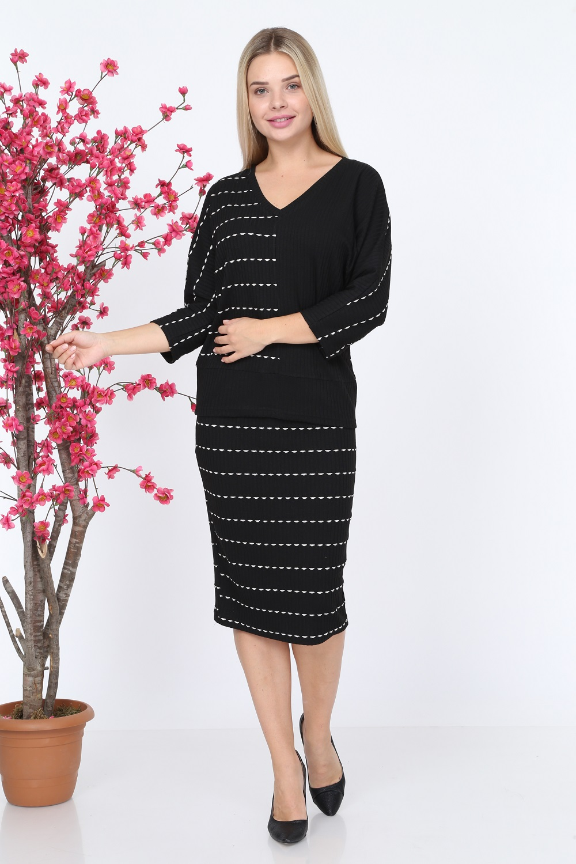 Striped Black Color Knitwear Set