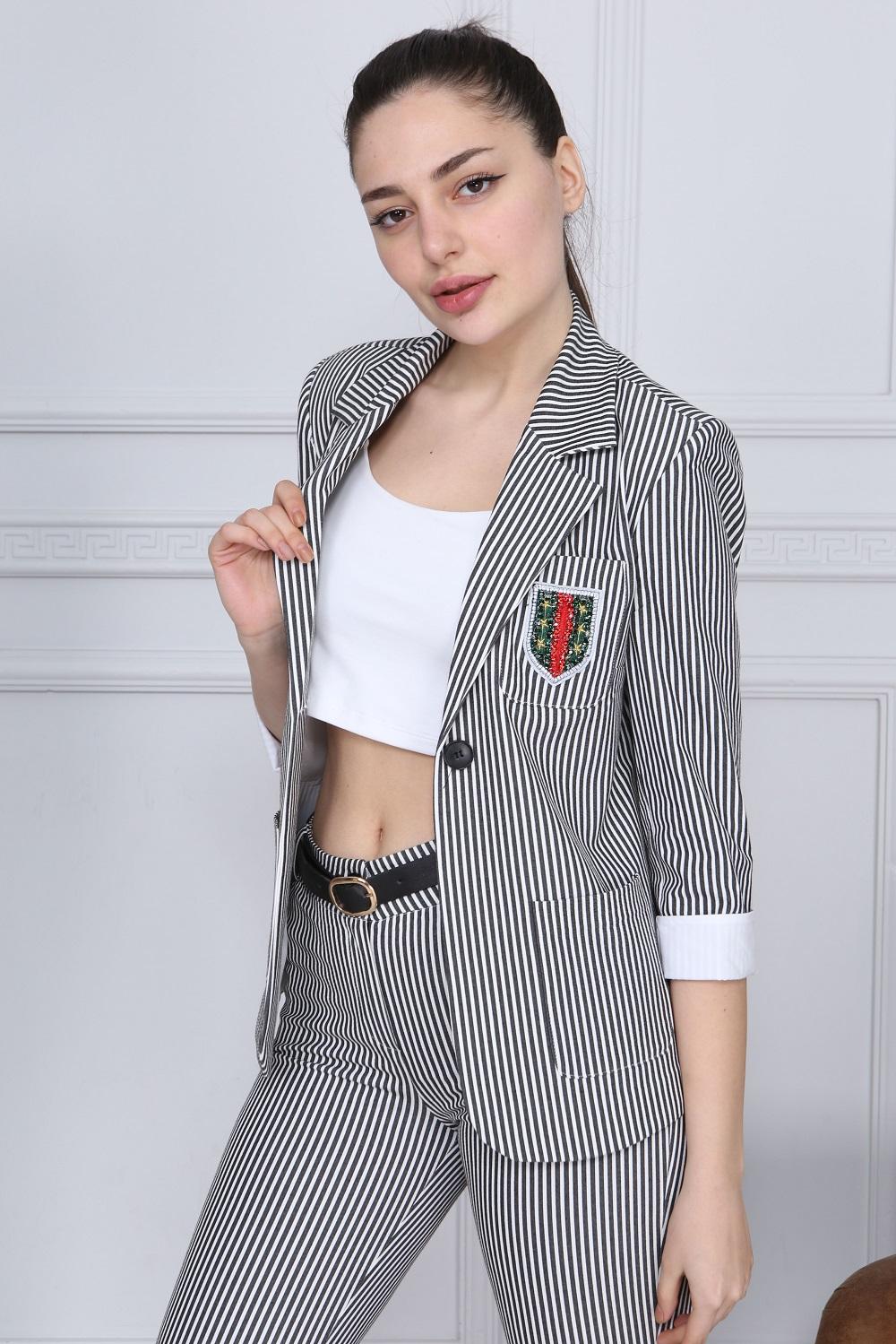 Black Striped Pants Suit