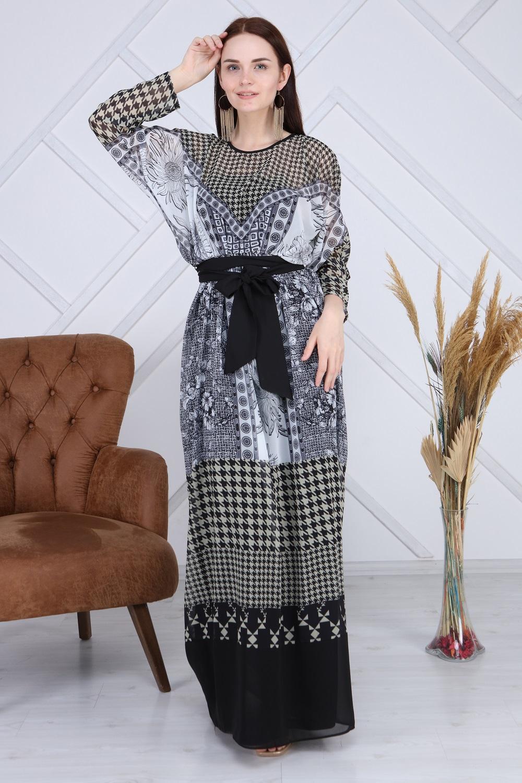 Multi Pattern Khaki Long Dress