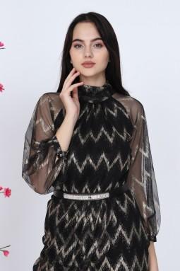 Turtleneck Black Tulle Dress