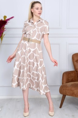 Beige Patterned French Dress