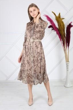 Beige Patterned Silvery Dress