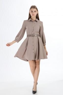 Beige Collar Buttoned Short Dress
