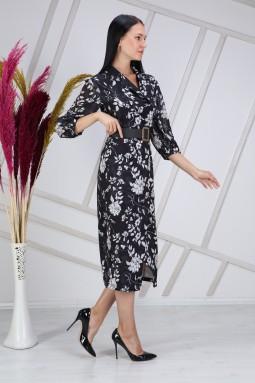 White Floral Patterned Black Dress