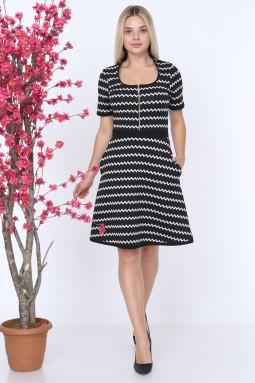 White Striped Knitwear Dress