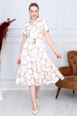 White Patterned French Dress