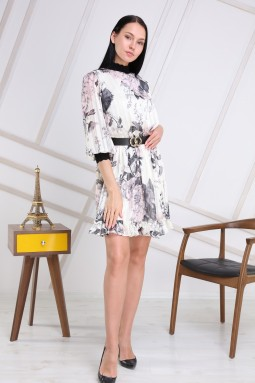 White Color Half Turtleneck Dress