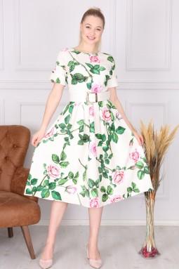 White Floral Pattern Dress