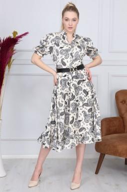 White Shawl Pattern Dress