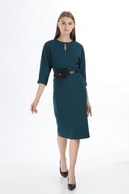 Oil Color Bag Belted Dress
