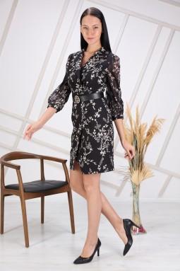 Black Floral Patterned Sleeve Tulle Dress