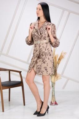 Beige Floral Patterned Sleeve Tulle Dress