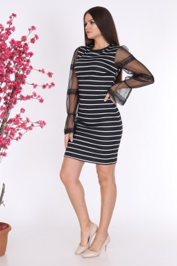 Line Pattern Chiffon Sleeve Black Color Dress