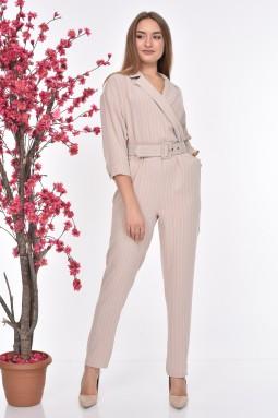 Striped Belted Beige Color Jumpsuit
