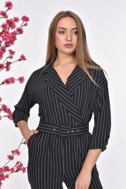 Striped Belt Black Color Jumpsuit