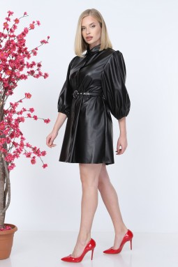 Buttoned Leather Dress