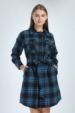 Plaid Buttoned Blue Dress