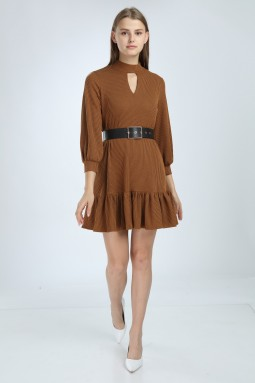 Tile Color Skirt Frilly Dress
