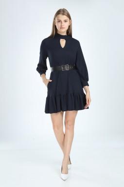 Navy Blue Color Skirt Frilly Dress