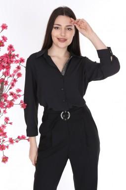 Black Color Shirt Pants Double Suit