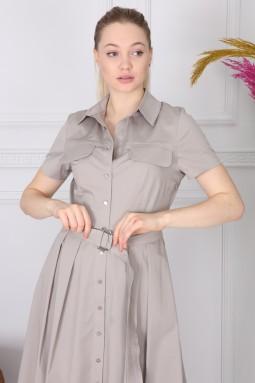 Gray Basic Collar Dress
