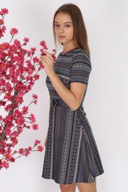 Gray Patterned Short Sleeve Knitwear Dress