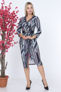 Gray Ribbed Patterned Dress