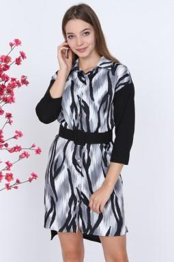 Zebra Pattern Gray Dress