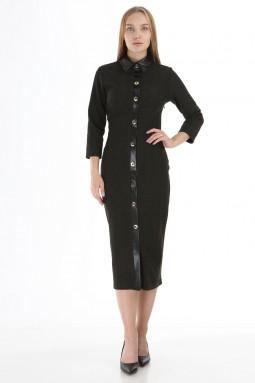Khaki Leather Collar Buttoned Dress