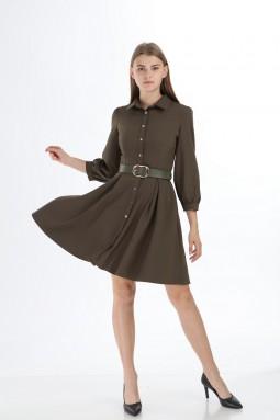 Khaki Collar Buttoned Short Dress