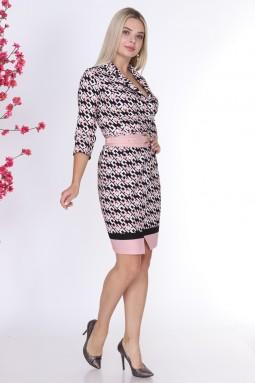 Patterned Collar Powder Color Dress