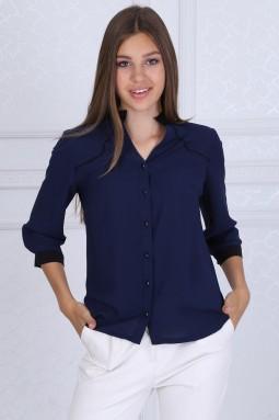 Black Collar Dark Blue Blouse