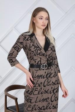 Brown Letter Pattern Dress